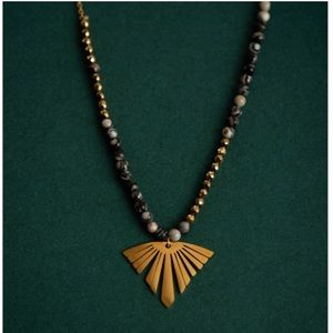Golden Fall Leaf Charm Necklace with Howlite